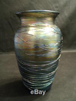 Victor Durand Vase En Verre À Art Fileté Irisé Bleu