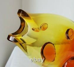 Vieux Verre D'art De La Vase De Poisson De Tangerine Blenko