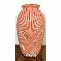 Vintage 13 Rétro Art Déco Des Années 80 Ondulé Peach Rose Pressé Vase En Verre