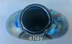Vintage 1981 Kent Fiske Signé Art Glass Luminere Collection Vase Irisé