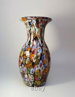 Vintage Années 1960 Fratelli Toso Millefiori Flowers Murano Art Glass Vase Collectable