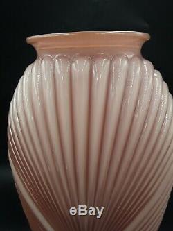 Vintage Art Déco Rose Clair Couleur Nervuré Plissés Vase En Verre Grand 12,75 Haut
