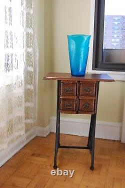 Vintage Blenko Art Glass Huge Blue Vase Hand Blown By Joel Myers Années 1960