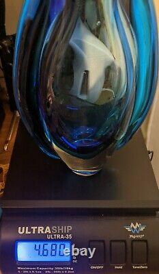 Vintage Des Années 1960 Murano Flavio Poli Sommerso Art Vase Ailé En Verre Deep Rich Blue