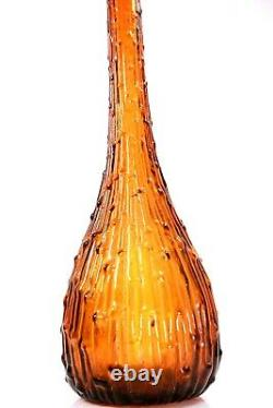 Vintage Empoli Glass Genie Bouteille Italienne Decanter Art Vase Circa 1960
