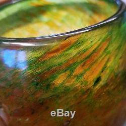 Vintage Grand 23.5cm Haut Monart Style Art Vase En Verre Orange Et Vert
