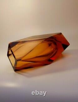 Vintage Grand 2kg Alessandro Mandruzzato Sommerso Murano Faceted Art Glass Vase