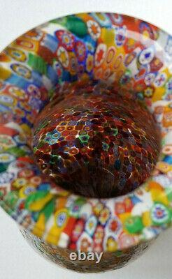 Vintage Grand Vénitien Italien Murano Millefiori Art Glass Vase