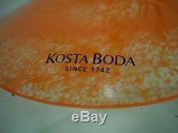 Vintage Kosta Boda Kjell Engman Swedish Art Glass Vase Femme Forme Orange Vert