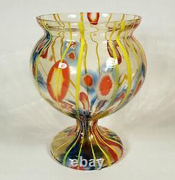 Vintage Kralik Bohemian Czech Art Glass Vase Lines Canes Vaseline Tchécoslovaquie