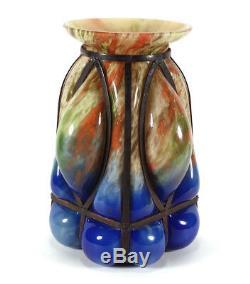 Vintage Kralik Caged Pouders Cage Soufflé Art De Bohême Vase En Verre Tchécoslovaquie