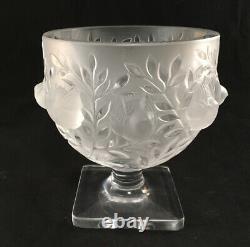 Vintage Lalique French Art Glass Frosted Elizabeth Pattern Sparrow Birds Vase