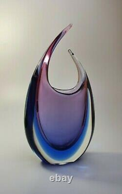 Vintage Luigi Onesto Italien Murano Glass Fishtail Art Vase Purple/blue Sommerso