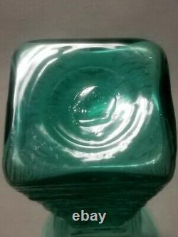 Vintage MID Century Modern Blenko Green Art Glass Vase Wayne Husted Soufflé 12.75