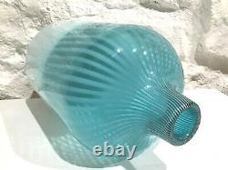 Vintage Moyen-century Modern Ermanno Nason Murano Art Glass Vase Rayé / Opaline