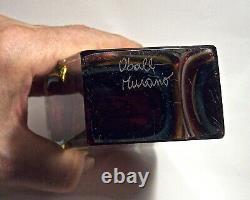 Vintage Murano Art Glass 7 5/8 Oball Vase Somerso Vtreria Artistica Onsto