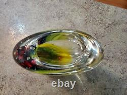 Vintage Murano Étiqueté Signé Luigi Onesto Art Glass Vase Rare Grande Taille 10.5