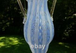 Vintage Murano Latticino Zanfirico Tall Art Vase Barovier & Toso Salviati
