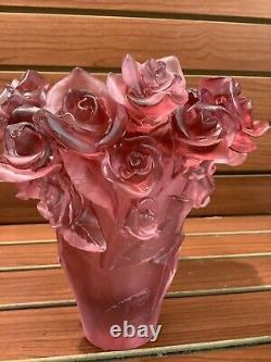 Vintage Pate De Verre Nancy Daum Rose Vase H7 Machine D'art En Verre Lourd Inconnu