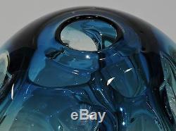 Vintage Paul Manners Stickman Studio Art Glass Vase Ocean Blue