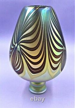 Vintage Rick Satava Studio Iridescent Art Glass Vase Couleurs Vibrantes