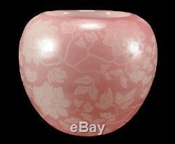 Vintage Steuben Art Floral Gravé Acide Vase En Verre Rose Rosaline & Albâtre 6078