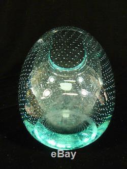 Vintage Val St Lambert Aqua Teal Bulle Art De Verre Vase Avec Étiquette D'origine