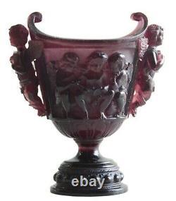 Vintage Vase Putti Figurines Daum Nancy Art Nouveau Verre Signé En 1890