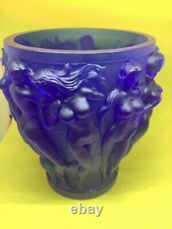 Vintage XL 10 H Bleu Foncé Bacchantes Vase En Verre D'art Lourd 9.8lb Nues Nues