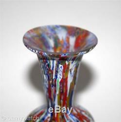 Vtg 1960 Murano Superbe Vase Vénitien Millefiori Italienne Italie Art Verrier