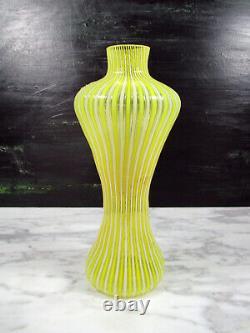 Vtg Fratelli Toso'a Canne' Filigrana Italien Murano Art Vase En Verre Jaune Blanc