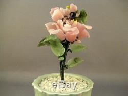 Vtg Jade Glass Bonsai Tree Art Japonais Japonais Art Floral Fleur Dans Un Vase