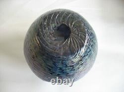 Vtg Kralik Iridescent Verre Vase Blue Purple Art Nouveau Bohême