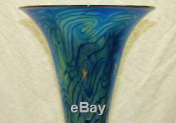 Vtg Lundberg Glass Studio Art 11 Evening Star Flare Vase Bleu Irisé Aurene
