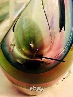 Vtg MCM Murano Vase En Verre D'art Avec Latticino Tendrills Flavio Poli 10,5 7,3 Lbs