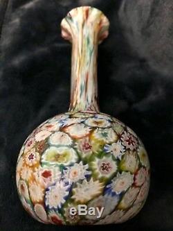 Vtg Murano Fratelli Toso Fermer Paniers En Verre Millefiori Art Satin Cannelée Vase 9