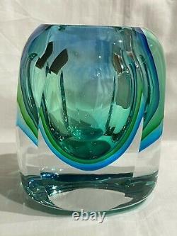 Vtg Murano Sommerso Blue Green Italian Art Glass Vase 4