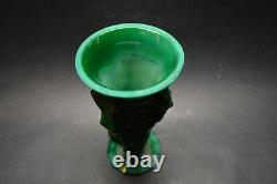 Vtg Tchèque Art Déco Malachite Vase En Verre Avec Nudes Great Harvest C. Schlevogt