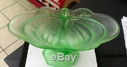 Walther & Sohne Pêche Vase En Verre D'uranium Schmetterling Art Déco Lady Vase 30