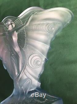 Walther & Sohne Schmetterling Vase Art Déco Vase Lady Butterfly Bleu Satin Années 1930