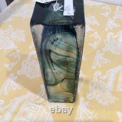 Whitefriars Art Verre Vert Streaky Long Rectangle Vase Geoffrey Baxter 1971