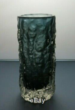 Whitefriars Originale Gris Art Vase En Verre Texturé Écorce