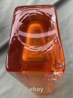 Whitefriars Tangerine Totem Geoffrey Baxter Design Art Glass Vase 1970's Orange