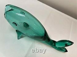 Winslow Anderson Blenko Sea Vase De Poisson Vert. Décanteur. Mcm. Sculpture En Verre D'art