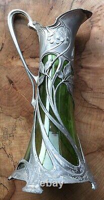 Wmf Allemand Art Nouveau Pewter Glass Lined Wine Ewer Claret Jug Vase Circa 1905