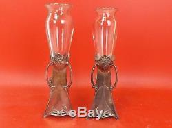 Wmf Une Paire De Vases Art Nouveau En Métal Et Empiècement En Verre. Plaqué Argent