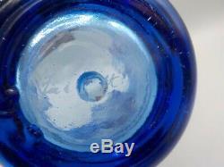 XL Feu Et Lumière Bleu Cobalt Vase Splash 11.5 Verre Recyclé Art Exe