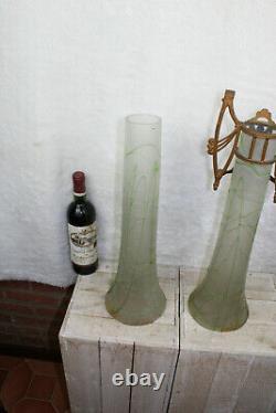 XL Pair Grand Art Nouveau Acide Gravé Vase Vase Cadre Putti Cherub Rare