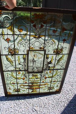 XL Verrière Française Vitrail Art Mythologique Nouveau Dragon Vase Oiseaux Rares